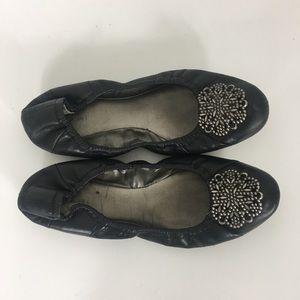 Tahari Black Leather Valerie Flats